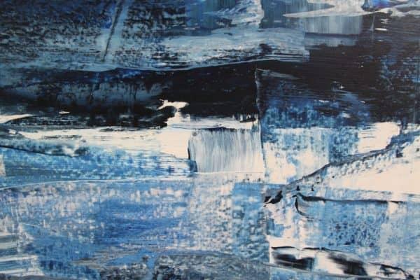 Cold rain ist ein, in Blautöne gehaltenes, Gemälde von D2a
